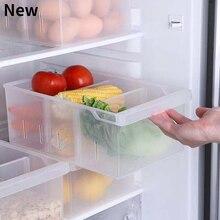 New Refrigerator Storage Box Plastic Storage Box Rectangular Compartment Vegetable Fruit Freezer Kitchen Storage Box Household
