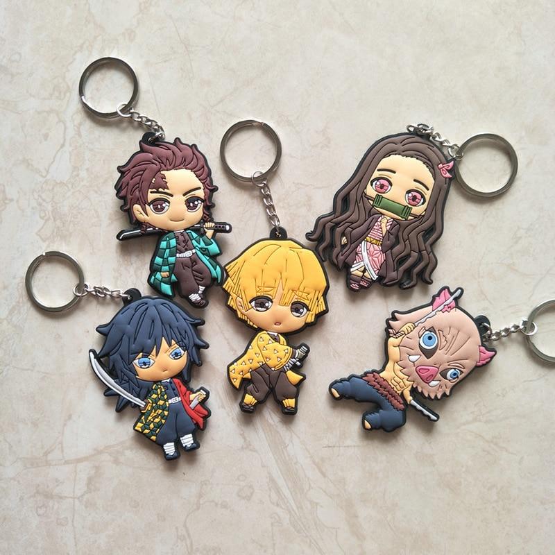 Anime Demon Slayer Kimetsu No Yaiba Keychain Kamado Nezuko Kamado-Tanjirou Agatsuma Zenitsu Hashibira Inosuke PVC Key Chain Cute