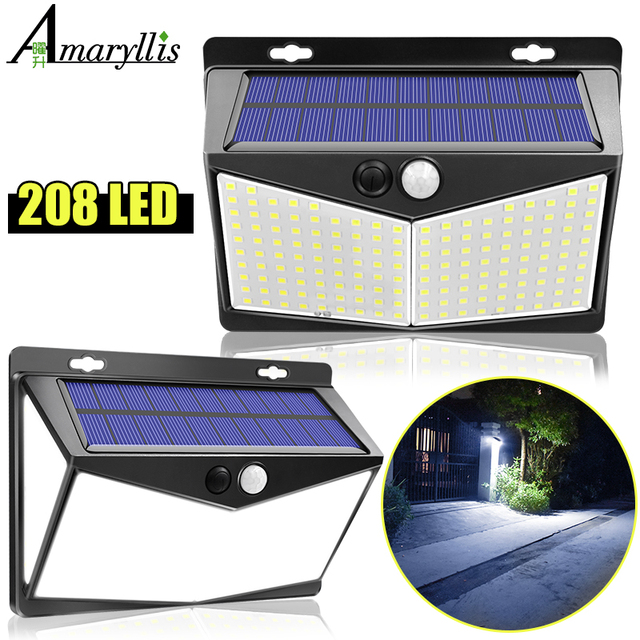 Solar Lights Outdoor 208Leds Ip65 Waterproof Wireless Motion Sensor Light 270 ° Wide Angle  Wall Lights Solar Lamp With 3 Modes 1