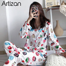 Pyjama Set Lange Mouw Nachtkleding Womens Button Down Nachtkleding Soft Pj Lounge Sets M XXL