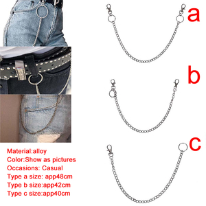 Metal Trousers Pant Chain Wallet Belt Rock Punk Jeans Keychain Silver Ring Clip Keyring HipHop Trendy Jewelry New
