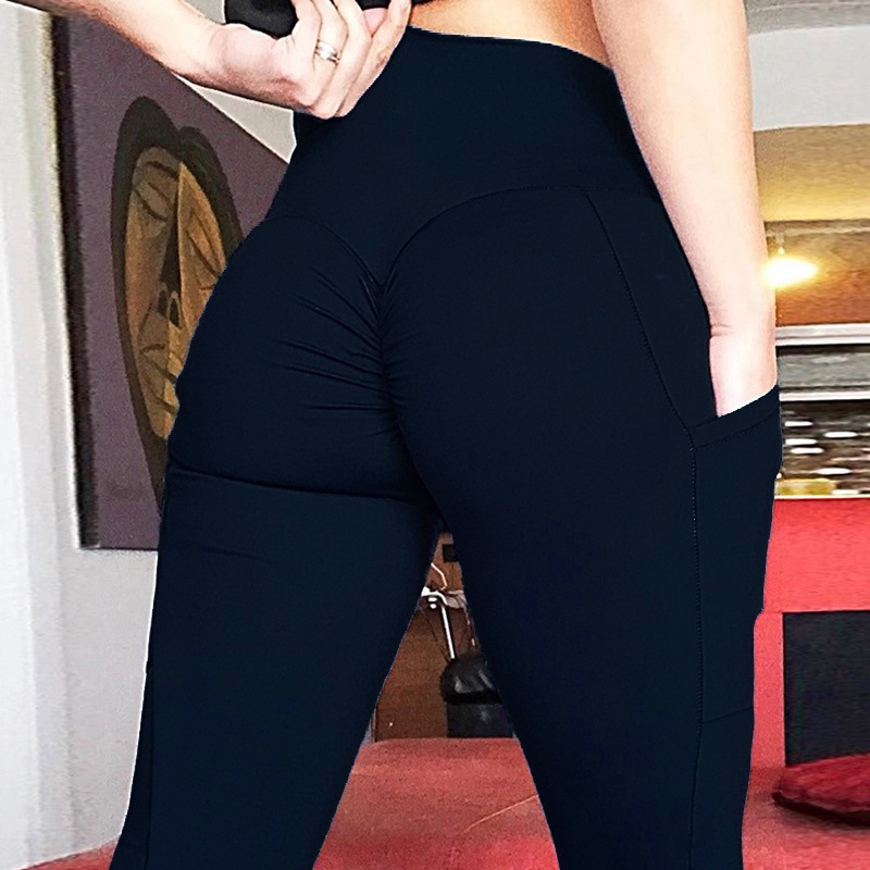 Solid Color Mobile Phone Pocket Elastic Force Yoga Hip Hip High Waist Hit Underpant Woman in Yoga Pants from Sports Entertainment