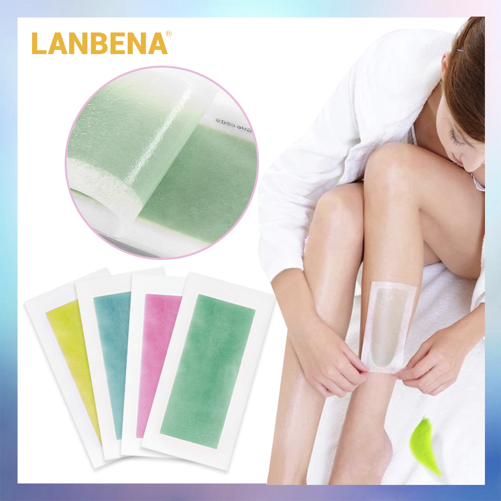 LANBENA 10 Pairs Hair Removal Wax Strips Papers Natural Beeswax Double Side Depilation Uprooted Silky For All Body Beauty Tool