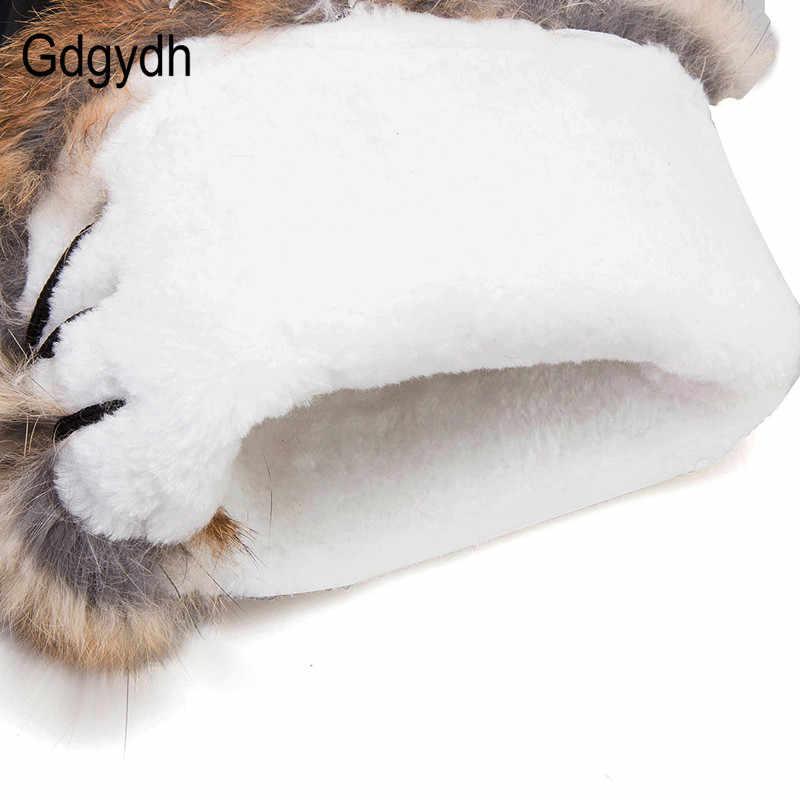 Gdgydh kış kadın kar botları sıcak peluş düz topuk kışlık botlar kürk doğal kadın diz çizmeler üzerinde su geçirmez artı boyutu 43