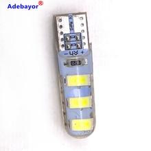 100 sztuk T10 W5W żel krzemionkowy 6 SMD 5630 5730 LED samochodów wewnętrzna lampka WY5W 194 501 LED wedge parking dome żarówki Turn Side lampy 12V