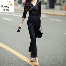 New Arrival Fashion Korean High Waist Ankle-Length Women Sexy Lace V Neck Slim Fit Womens Rompers Jumpsuit(China)