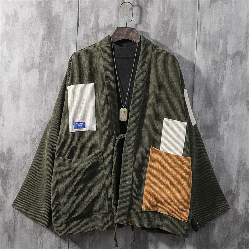Japanese Style Kimono For Man Retro Patch Velvet Coat Fashion Harajuku Woman Shirt Streetwear Asian Samurai Cardigan Haori