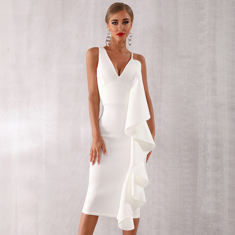 White V Neck Cocktail Dresses With Stretch Ruffles Sexy Straight Women Dress New Elegant Party Dress Homecoming ESAN368