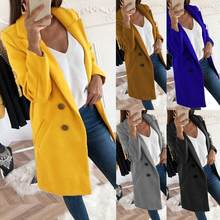 Casual Turn-Down Collar Coat Women Autumn Winter Solid Color Lapel Open Front Jacket Long Warm Coat Big Size Jackets 4XL(China)