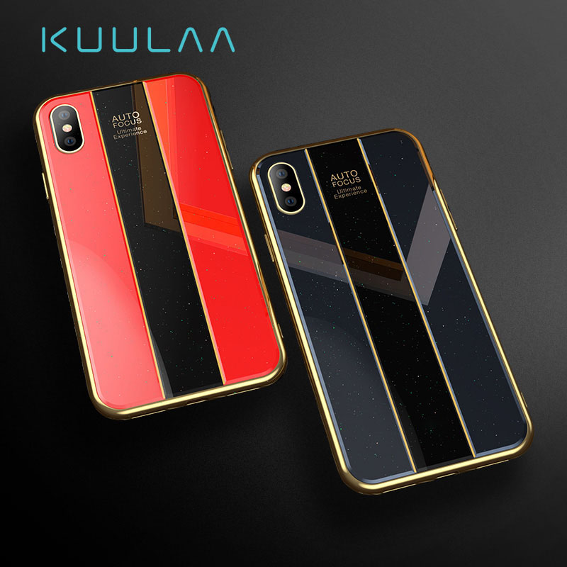 KUULAA For IPhone X Case Luxury Porsche Glass Phone Case I Phone 7 Slim Shockproof Back Cover For IPhone XS Max XR 8 7
