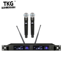 TKG gerçek çeşitlilik 626 668mhz 780 822mhz QLX 24D çift kanallı mikrofon sistemi kablosuz kablosuz mikrofon profesyonel