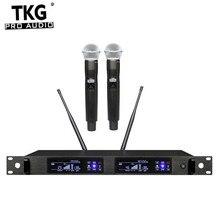 Tkg 真の多様性 626 668 780 822 470mhz QLX 24D デュアルチャンネルマイクシステムワイヤレスワイヤレスマイクプロ