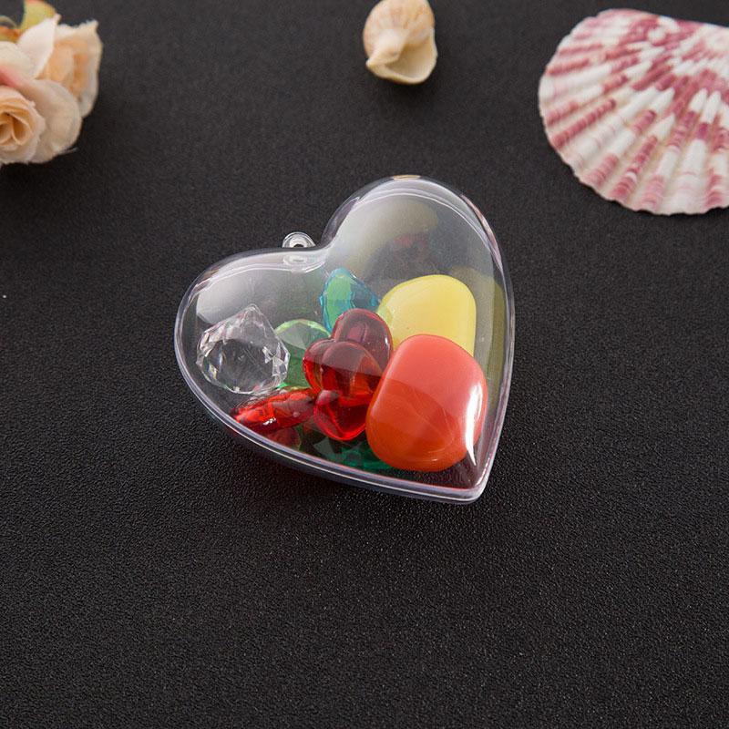 2019 Hot Sale 1 Set 65/80mm DIY Clear Plastic Clear 2Pcs Bath Bomb Mold Heart Shape Acrylic Mould 80*78*46mm