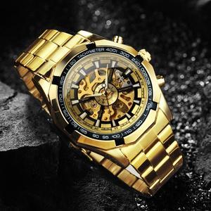 Image 2 - 수상작 공식 클래식 자동 시계 남자 해골 기계식 시계 톱 브랜드 럭셔리 골든 스테인레스 스틸 스트랩