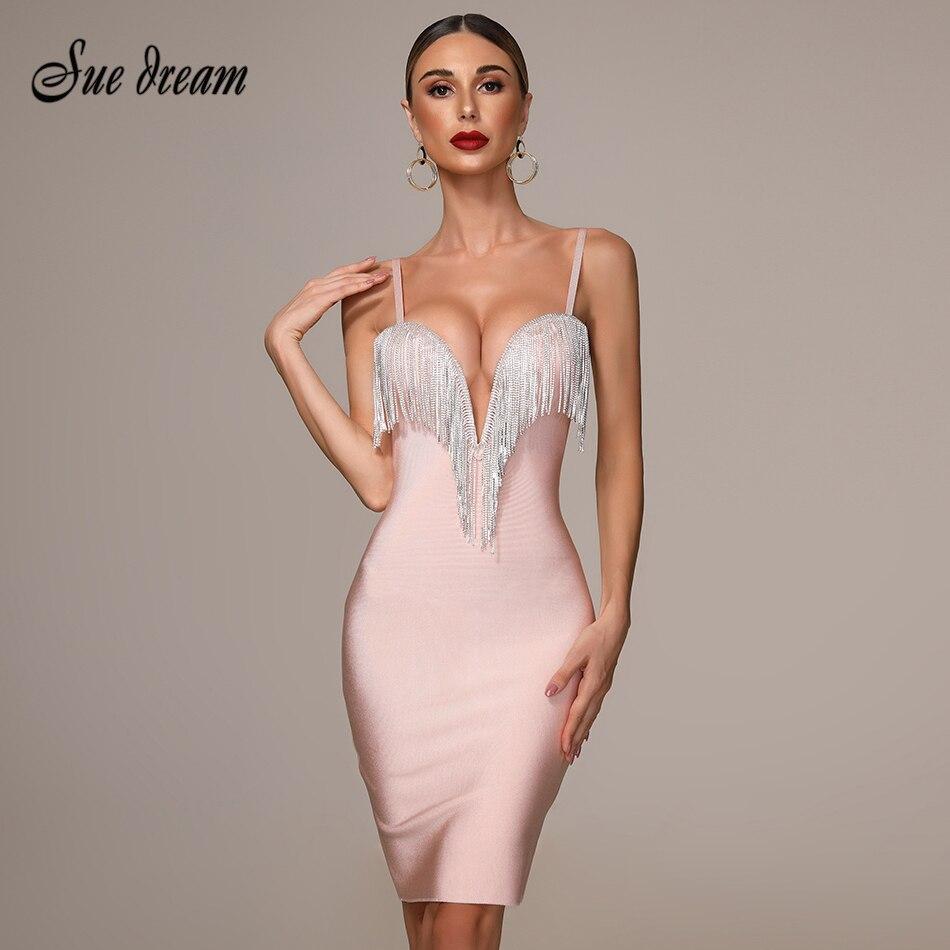 2019 Autumn New Women's Fashion Sexy Bandage Dress Blue White Pink Black Spaghetti V-neck Tassel Party Dress Mini Dress