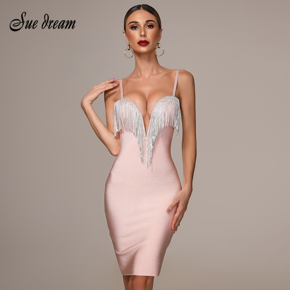 2019 automne nouveau femmes mode Sexy Bandage robe bleu blanc rose noir Spaghetti col en v gland robe de soirée Mini robe