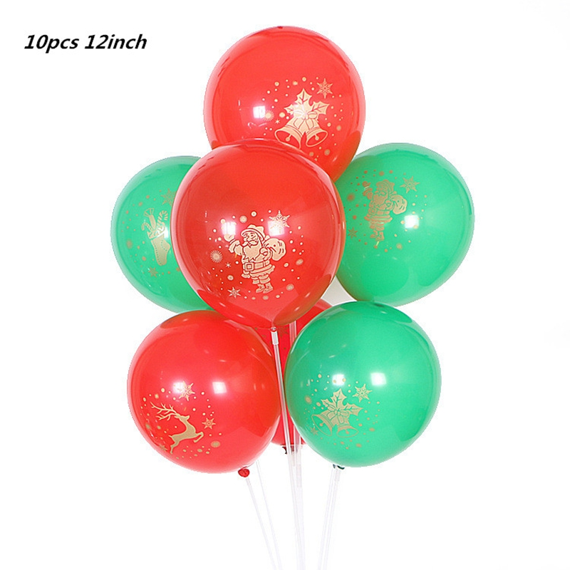 12inch 10pcs merry Christmas Latex Balloons new year party decorations for home Santa Clause Christmas Tree Xmas Party supplies