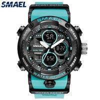 Smael Merk Mannen Sport Horloges Dual Display Analoge Digitale Led Elektronische Quartz Horloges Waterdicht Zwemmen Militaire Horloge