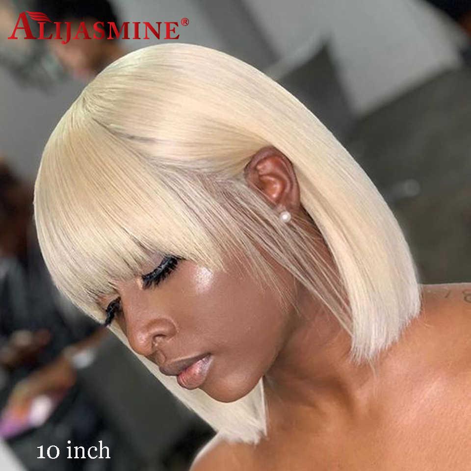 613 Blonde Bob Pruik Met Bang 150 Dichtheid Braziliaanse Remy Korte Bob Bang Pruiken Voor Zwarte Vrouwen 13X4 Menselijk Haar pruiken Met Bang