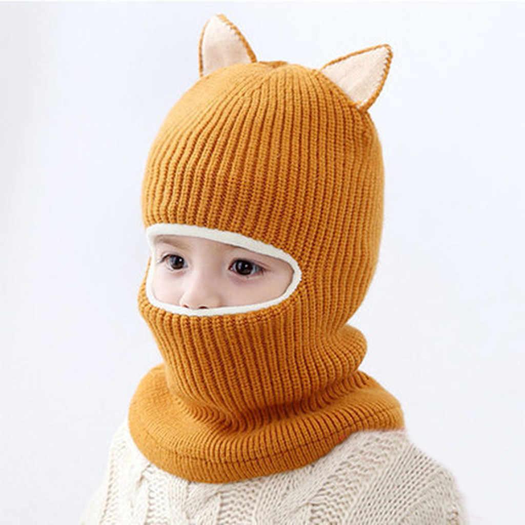 เด็กทารกเด็กหญิงฤดูใบไม้ร่วงและฤดูหนาว windproof คอผ้าพันคอหมวกผ้าพันคอเด็กเด็กวัยหัดเดินหมวกเด็กหมวกที่อบอุ่นถักโครเชต์หนา Earflap hood หมวก