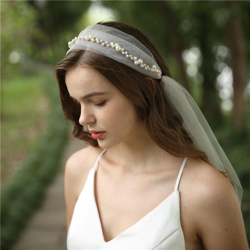 Elegant Pearls Bridal Veils Handmade Vintage Wedding Headpiece Party Prom Hair Accessories 2019 Brides Headwear