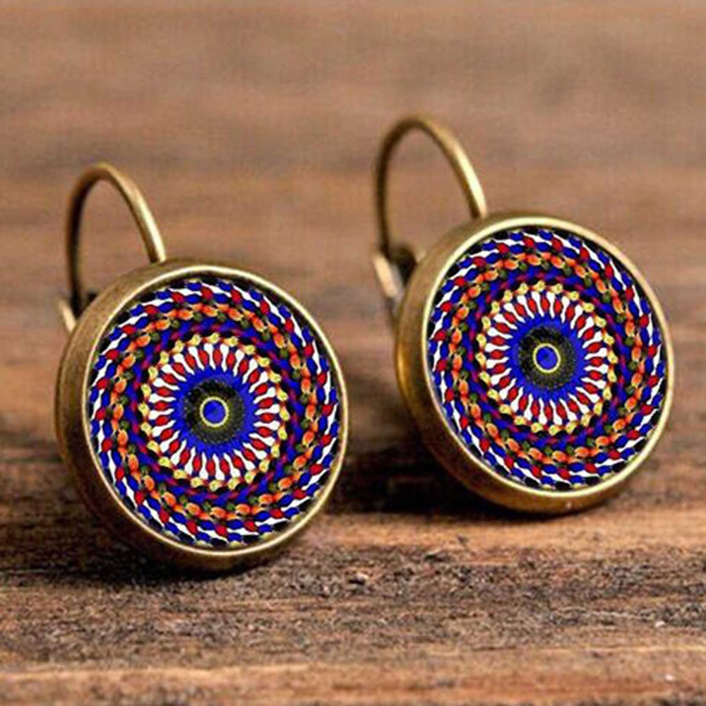 H23ae45346d0a4a659ed34aaa4e9c6063T - FSUNION Boho Flower Drop Earrings For Women Vintage Jewelry Geometric Pattern Round Earings Bijoux boucles d'oreilles bohemia