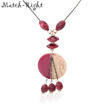 Sweater Necklace Women Jewelry SP107 Pendants Statement Match-Right Round with for Maxi