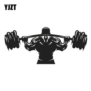 YJZT 18.1CM*8.1CM Sport Man Weightlifter Athlete Barbell Car Styling Decor Vinyl Car Sticker Black/Silver C31-0067