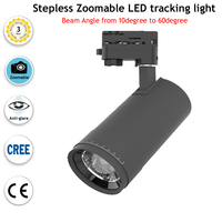 30W Zoomable led tracking spot light stepless beam angle from 10 to 60 adjustable black white housing color led tracking light