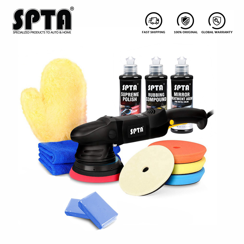 SPTA 5inch & 6Inch Car Polisher 15mm Dual Action Polisher 850W Variable Speed Burnish Buffing Machine Home DIY Car Polisher