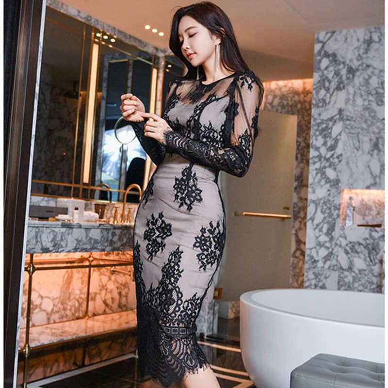 H Han Queen Womens Sexy Schwarz Spitze Hohl Mode Business 2 Stück Mantel Bleistift Bodycon Kleid Vestidos Elegante Vintage