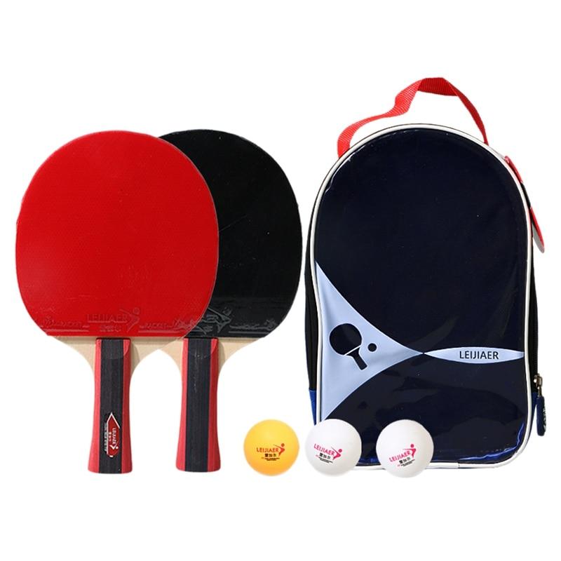 Leijiaer Ping Pong Paddle Set (2-Player Bundle), Pro Premium Rackets, 3 Balls, Portable Storage Case