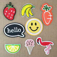 fruit banana strawberry Patch for Clothing Iron on Embroidered Sewing Applique Cute Sew On Fabric Badge DIY Apparel Accessories(China)