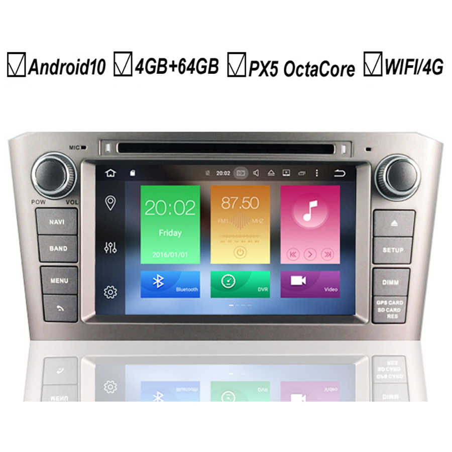 Voiture Android 10 DVD GPS lecteur pour Toyota Avensis T25 2003 2004 2005 2006 2007 2008 Octa Core 4GB + 64GB Radio BT Wifi DAB + stéréo