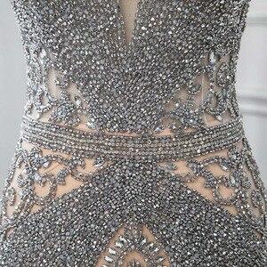 Image 5 - Yeni 2020 gümüş Rhinestones uzun abiye zarif çıplak tül Pageant elbise kadın elbisesi Mermaid Vestidos Cap Sleeve