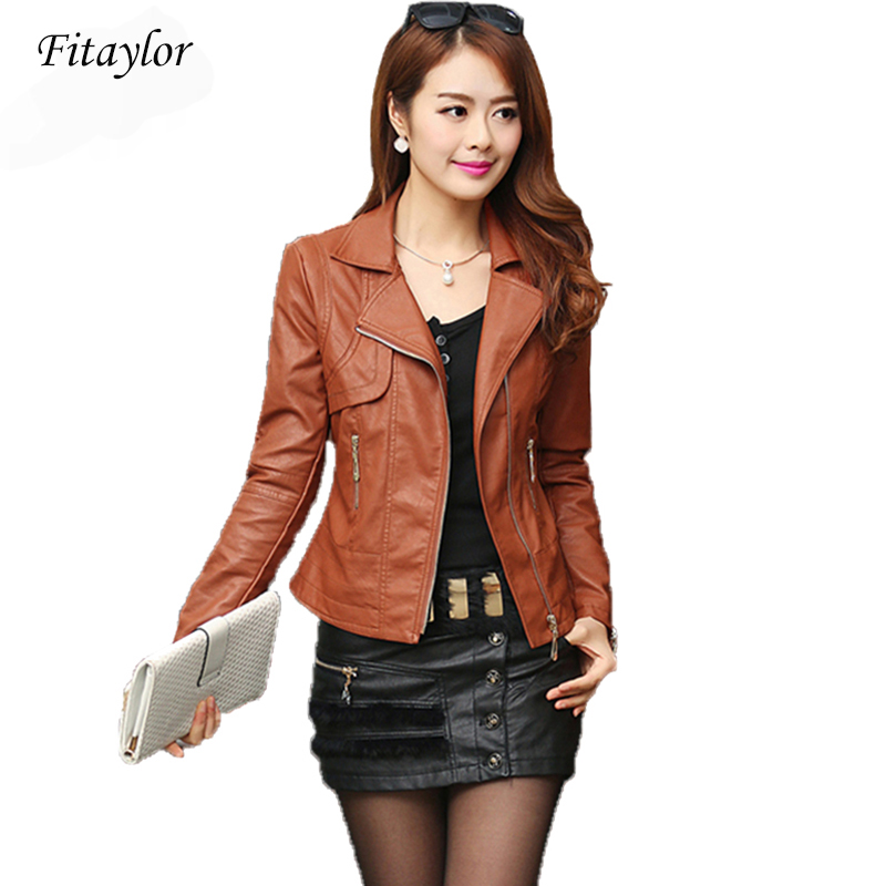 Fashion Autumn Women Pu Leather Jacket Slim Motor Outwear Coat Zippers Roupas De Couro Femininos Plus Size 4XL Elegant Punk Coat