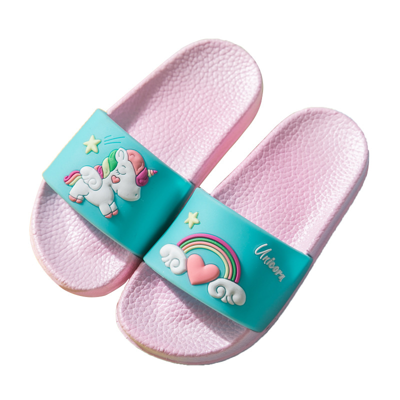 Unicorn Slippers For Boy Girl Cartoon Rainbow Shoes 2020 Summer Toddler Flip Flops Baby Indoor Slippers Beach Swimming Slipper