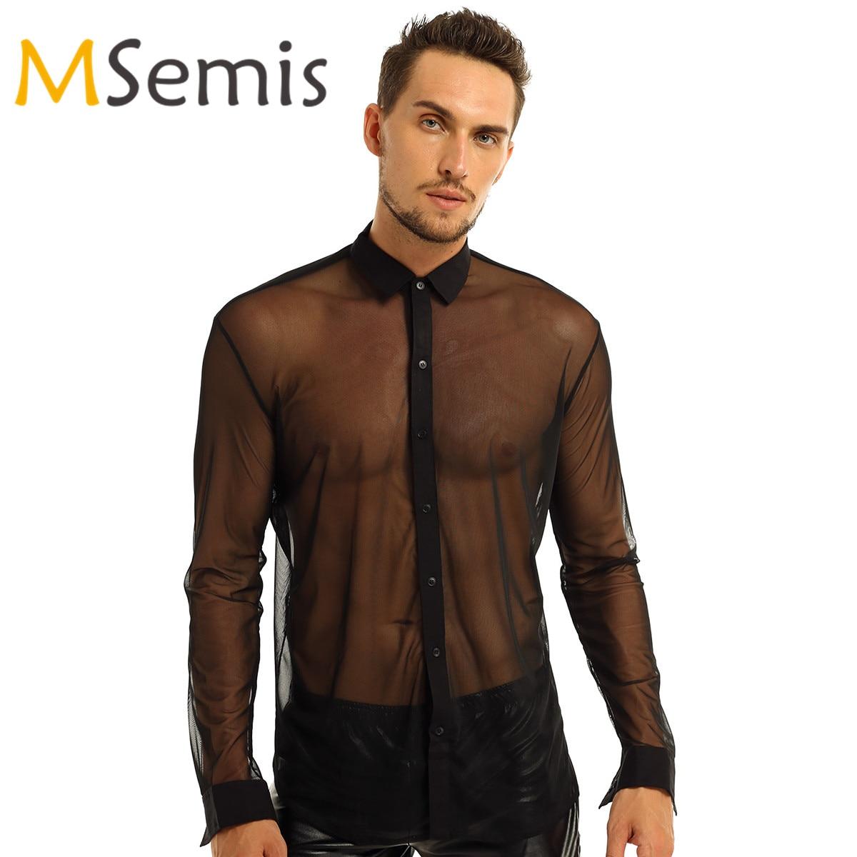 MSemis Mesh Transparent Long Sleeves Turtle Neck Leotard Bodysuit Romper Jumpsuit