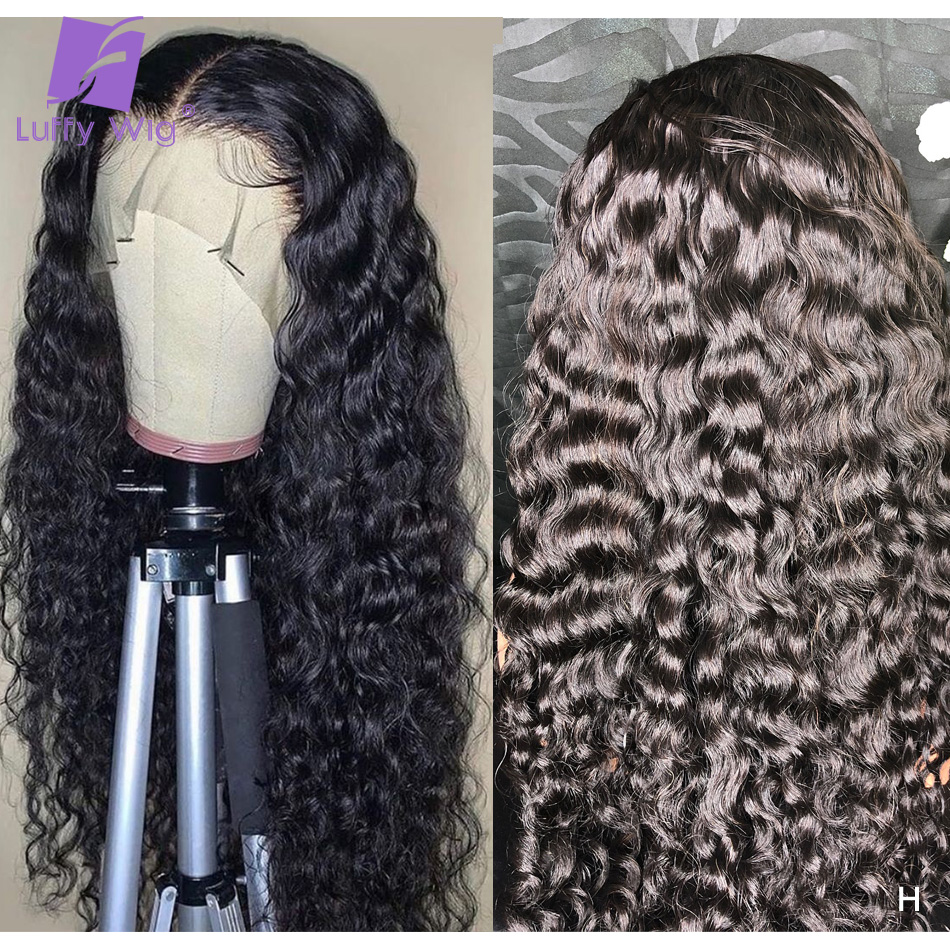 Brazilian Water Wave Wig 200 Density 13x6 Fake Scalp Glueless Lace Front Human Hair Wigs Pre Plucked Bleached Knots Remy LUFFY