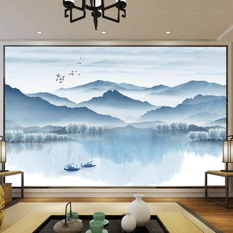 New Chinese Style Blue Pattern Landscape Scenery Traditional Chinese Painting Living Room Sofa TV Backdrop Wallpaper Wall Painti
