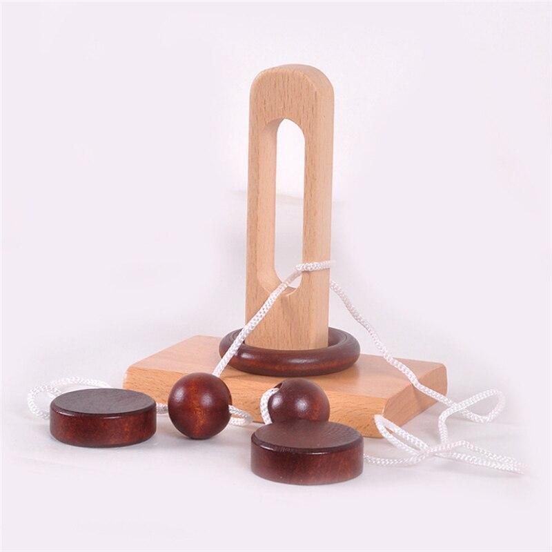 Детская деревянная 3D головоломка игрушка топология умная петля головоломка Kong Ming замок нанизывание развязать веревку подарки