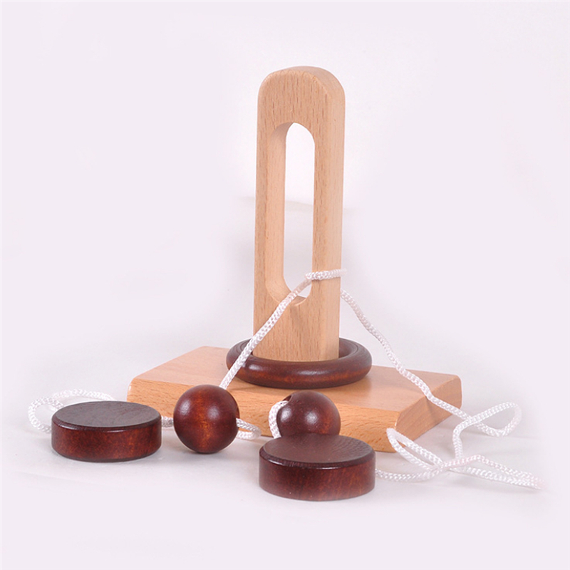 Children's Wooden 3D Puzzle Toy Topology Toy Intelligent Loop Puzzle Kong Ming Lock Stringing Untie The Rope Gifts