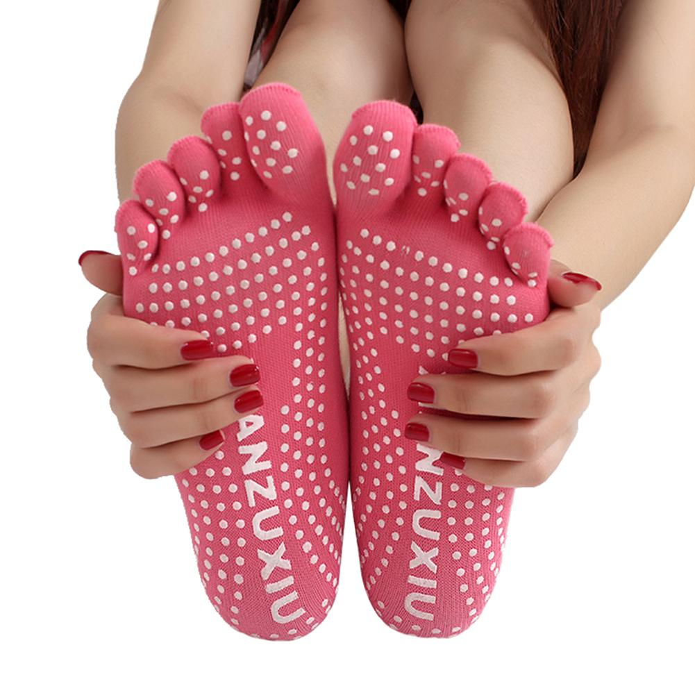 Women Professional Socks Non-slip Breathable Five Finger Toe Socks Pilates Massage Socks Elastic Cotton Exercise Socks