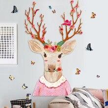112*135 см мультяшный стикер на стену в виде оленя, обои для спальни, декор для гостиной, постер, декор для стены в виде животного