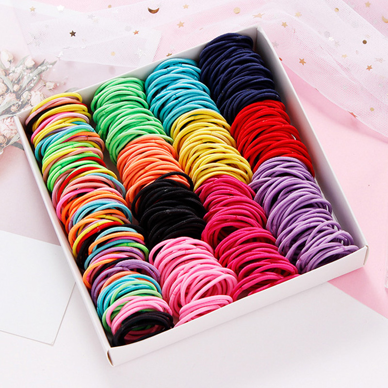 Hot 100PCS/Lot Girls Candy Colors Nylon 3CM Rubber Bands Children Safe Elastic Hair Bands Ponytail Holder Kids Hair Accessories