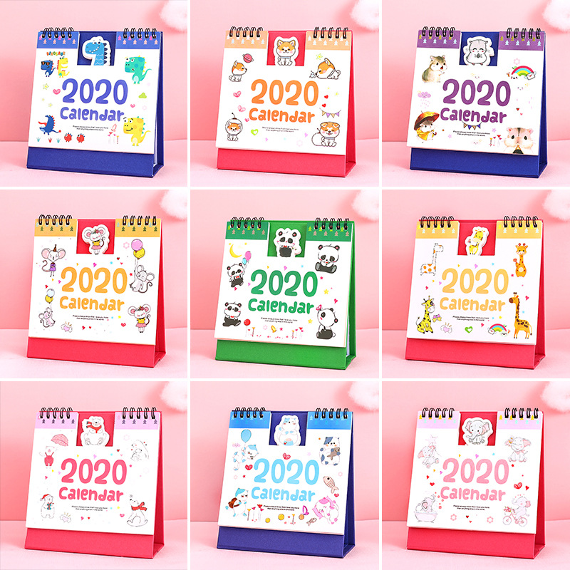 2020cute Kawaii Cartoon Bear Rabbit Paper Calendar  Desktop Dual Daily Scheduler Table Planner Yearly Agenda Organizer