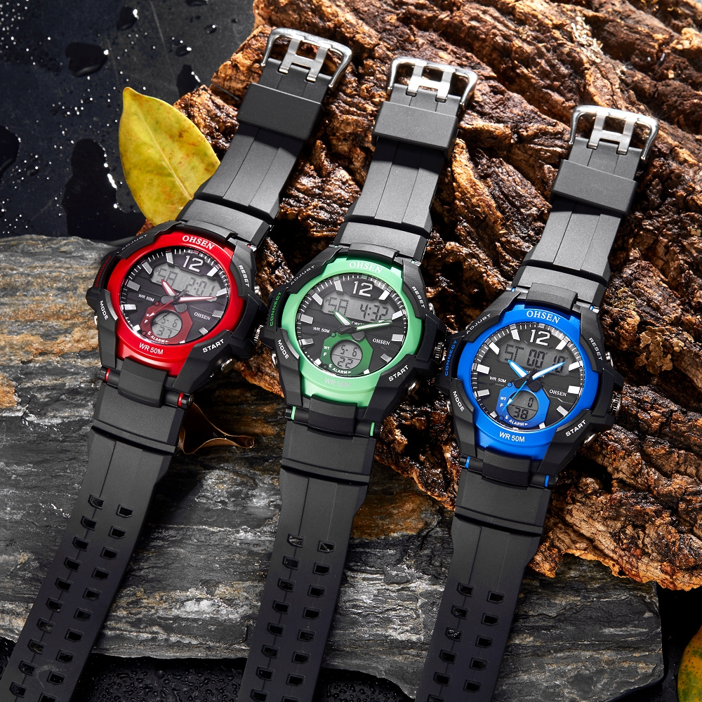 OHSEN Waterproof Digital Quartz Men's <font><b>Watches</b></font> Fashion Blue Military Outdoor Sport man Wristwatch Silicone Electronic Male clocks image