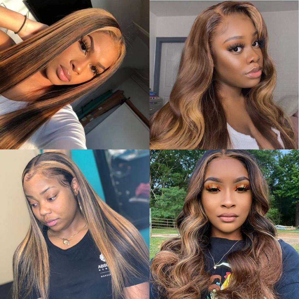 Ombre Highlight Wig Brown Honey P4/27 Colored Swiss 13x4X1 Lace Front  Wigs Straight  Highlight Bundles Lace Wigs 3
