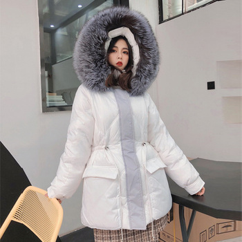 Real Big Silver Fox Fur Coat Women 2020 Winter Loose Warm Down Parka Overcoats Female Warm White Duck Down Jacket Hooded Coat image
