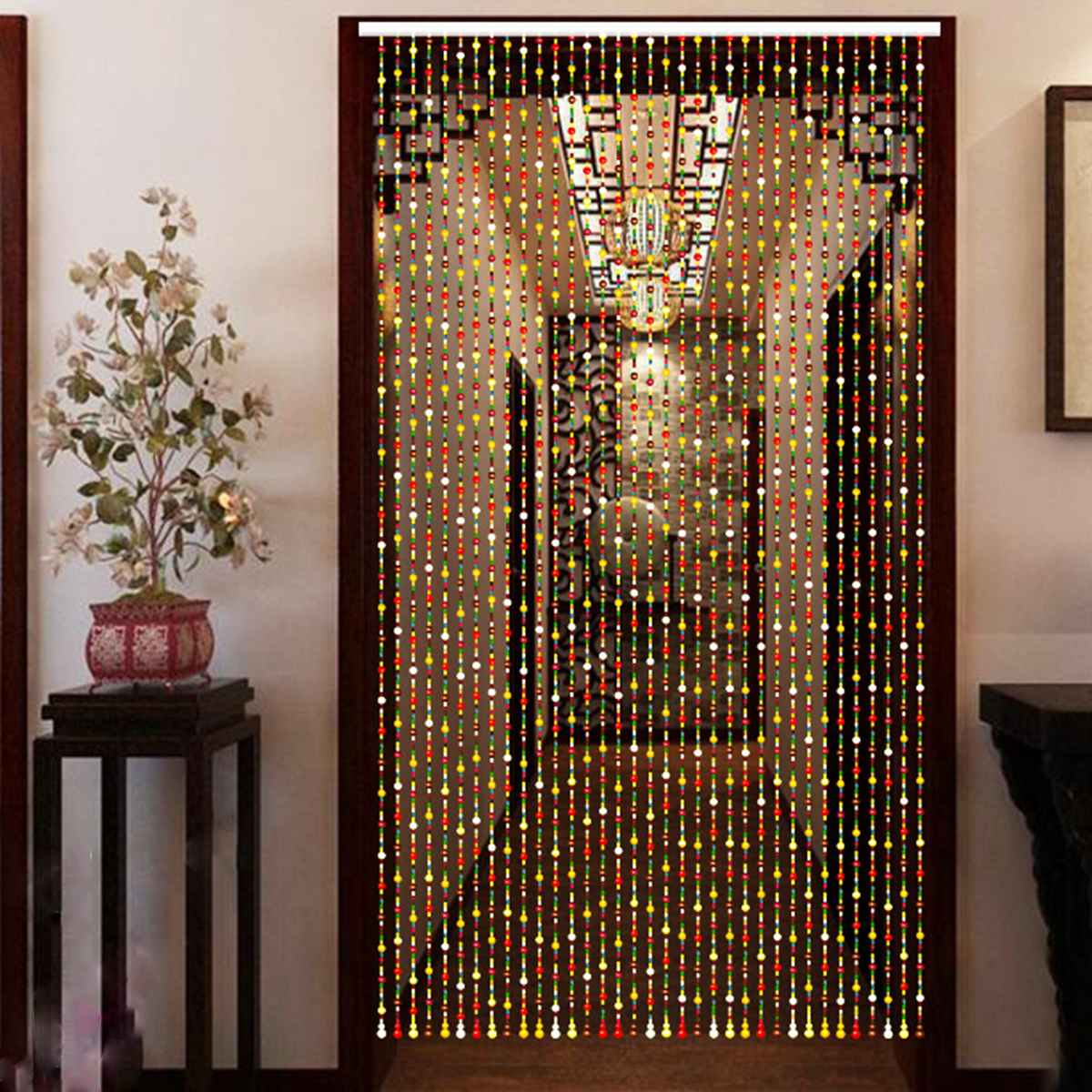 106cm Colorful Wooden Bead Curtains 25 Line Fly Screen Wooden